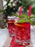 Tè ghiacciato con le fette del limone Immagini Stock