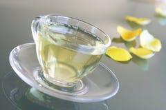 Tè giallo in tazza trasparente Fotografie Stock Libere da Diritti
