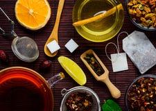 Tè, ingredienti e dolcificanti Fotografia Stock