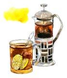 Tè nero con i limoni in una tazza di vetro Immagini Stock Libere da Diritti