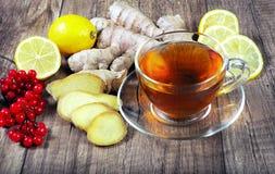 Tè per freddo ed influenza Limone, zenzero, kiwi e viburno per tè per un freddo Fotografia Stock