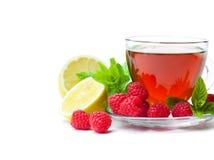 Tè rosso della frutta con il lampone e la menta isolati sul backgro bianco Immagini Stock Libere da Diritti