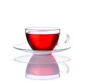 Tè rosso in tazza di vetro Fotografie Stock Libere da Diritti