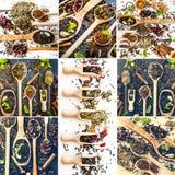 Tè sui cucchiai di legno Fotografia Stock Libera da Diritti