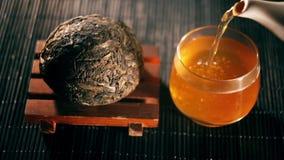 Tè Tè cinese Specie di Puer di tè con il filtro stock footage