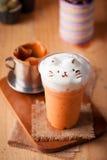 Tè tailandese ghiacciato del latte Fotografie Stock