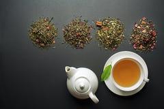 Tè in tazza con la raccolta asciutta del tè Fotografie Stock