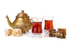 Tè turco con il lokum del rahat Fotografie Stock Libere da Diritti