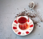 Tè turco in vetro tradizionale Fotografie Stock