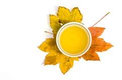 Tè in una tazza sulle foglie di autunno Fotografia Stock Libera da Diritti