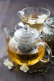 Tè verde con gelsomino Fotografia Stock