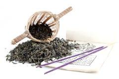 Tè verde con il setaccio Immagini Stock Libere da Diritti
