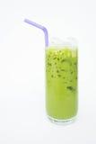Tè verde con latte, il dolce di rinfresco di gusto immagini stock