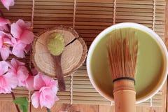 Tè verde di Matcha e polvere, tè giapponese Fotografia Stock Libera da Diritti