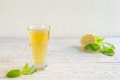 Tè verde freddo con il limone Fotografia Stock Libera da Diritti