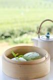 Tè verde Mantou Fotografie Stock