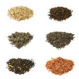 Tè verde, nero, floreale e di erbe immagini stock libere da diritti