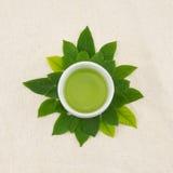 Tè verde in tazza Fotografie Stock