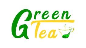 Tè verde - testo con una tazza di tè verde illustrazione vettoriale