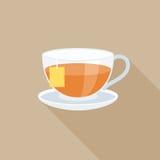 Tè in vetro con l'etichetta Immagine Stock Libera da Diritti