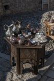 Té, café, turco, artes, recuerdo, mezquita, alminar, Mostar, Bosnia, Herzegovina, Europa, Islam, religión, lugar de culto imágenes de archivo libres de regalías