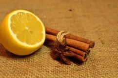 Té caliente con el limón, el canela y el tomillo Foto de archivo