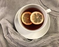 Té caliente con el limón y el jersey caliente, mimoso foto de archivo libre de regalías