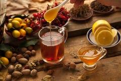 Té caliente con el limón y la miel Foto de archivo