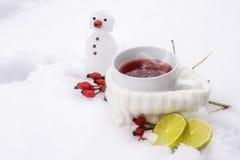 Té caliente con los escaramujos y los limones afuera en la nieve y un litt Imágenes de archivo libres de regalías