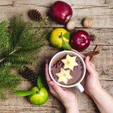Té caliente de la Navidad con la taza del fondo de Apple Berry Cinnamon Wooden de ramas calientes Horiz del abeto de las frutas d Imagen de archivo libre de regalías