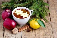 Té caliente de la Navidad con la taza del fondo de Apple Berry Cinnamon Wooden de sujetador caliente del abeto de las frutas del  Foto de archivo libre de regalías