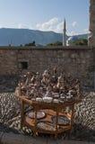 Té, coffe, turco, artes, recuerdo, mezquita, alminar, Mostar, Bosnia, Herzegovina, Europa, Islam, religión, lugar de culto fotografía de archivo libre de regalías