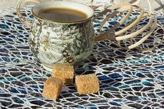 Té con el azúcar para el desayuno Foto de archivo