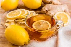 Té con el limón y el jengibre Fotografía de archivo libre de regalías