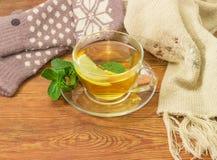 Té con el limón y la menta por otra parte de las manoplas de lana, bufanda Imagenes de archivo