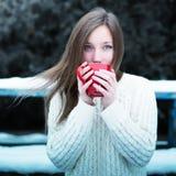 Té de consumición de la muchacha hermosa joven en un parque fresco del invierno Fotografía de archivo libre de regalías