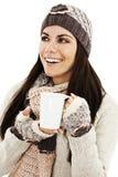 Té de consumición de la mujer del invierno Foto de archivo