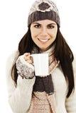 Té de consumición de la mujer del invierno Imágenes de archivo libres de regalías