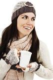 Té de consumición de la mujer del invierno Fotografía de archivo