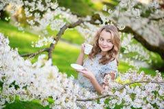 Té de consumición de la mujer hermosa en jardín de la cereza Imágenes de archivo libres de regalías