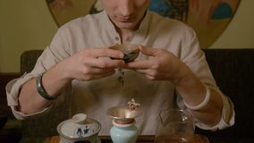 Té de consumición del amo del té almacen de video