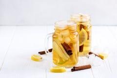 Té de hielo hecho en casa fresco infundido del agua con la fruta cítrica y el canela de la manzana Fotos de archivo libres de regalías