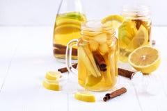 Té de hielo hecho en casa fresco infundido del agua con la fruta cítrica y el canela de la manzana Imagen de archivo libre de regalías
