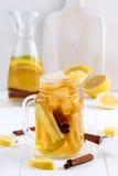 Té de hielo hecho en casa fresco infundido del agua con la fruta cítrica y el canela de la manzana Fotografía de archivo