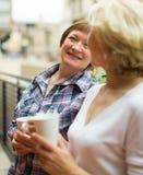 Té de la bebida de dos mujeres en balcón imagen de archivo libre de regalías