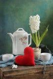 Té de la tarjeta del día de San Valentín Imágenes de archivo libres de regalías