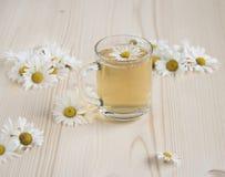 Té de manzanilla entre las flores de la manzanilla Imagenes de archivo