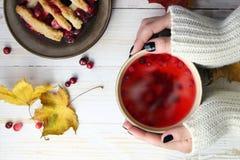Té del arándano con la torta y las hojas de otoño Fotografía de archivo