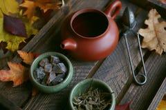 Té del otoño, tetera en un fondo de madera, hojas de otoño Foto de archivo libre de regalías