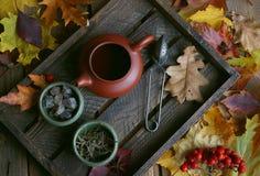 Té del otoño, tetera en un fondo de madera, hojas de otoño Imagen de archivo